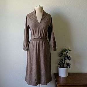 Vintage 40s wool belted sweater dress